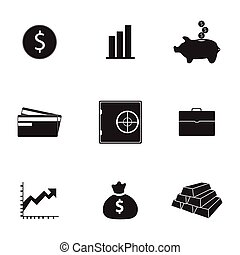 Vector bank icons set on white background