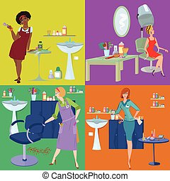 Beauty salon spa customers and workers flat people