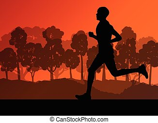 Active young man runner
