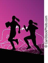 rugby, joueur, actif, jeune, Femmes,