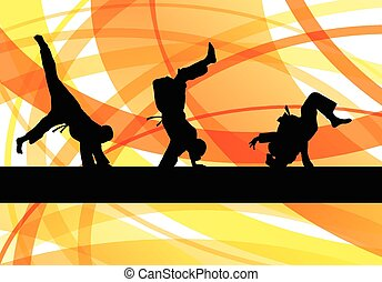 Judo fight active young boy martial arts sport silhouettes...