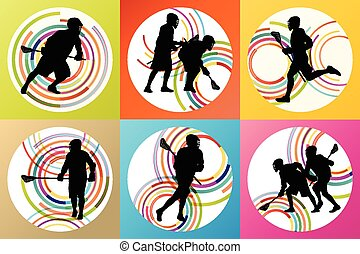 Lacrosse player in action vector background set concept