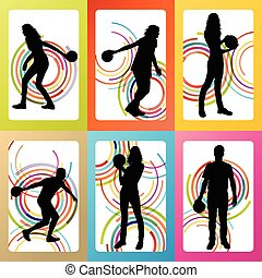 Bowling player silhouettes vector set background concept