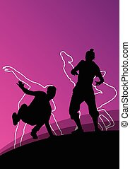 Active young dancer vector silhouettes in abstract line...