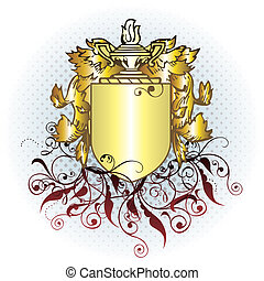 gold crest element - vector crest element with raster