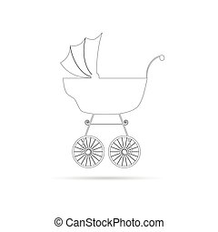 baby stroller ancient beauty black vector