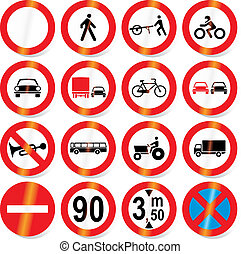 road signs vector - Traffic, road signs - vector format