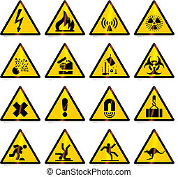 warning signs (vector) - Danger, warning signs - vector...