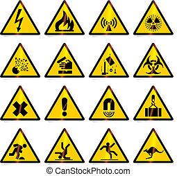 advertencia, señales, (vector)