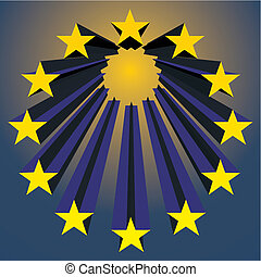 european unions stars exploding vector illustration