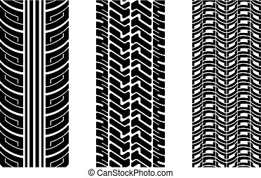 Tire tracks - Vector tire tracks repeating top to down