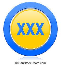 xxx blue yellow icon porn sign