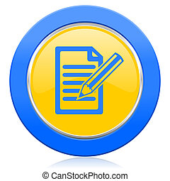 subscribe blue yellow icon write sign