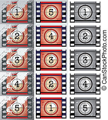 Film countdowns (vector) - grunge, black and white film...