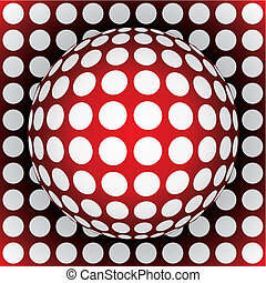 op-art red sphere - 3d vector illustration