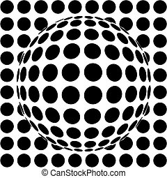 op-art sphere - 3d vector illustration