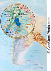 Looking in on Bogota, Colombia - Blue tack on map of South...
