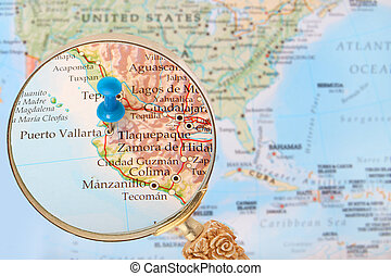 Looking in on Puerto Vallarta, Mexico - Blue tack on map of...