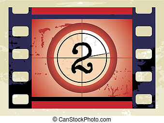 film countdown vector - Scratched Film Countdown at No 2
