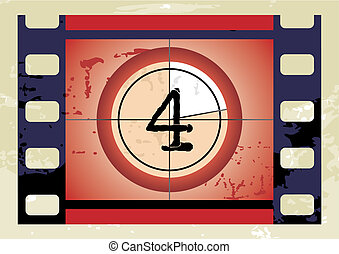 film countdown vector - Scratched Film Countdown at No 4