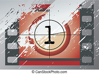 film countdown vector - Scratched Film Countdown at No 1