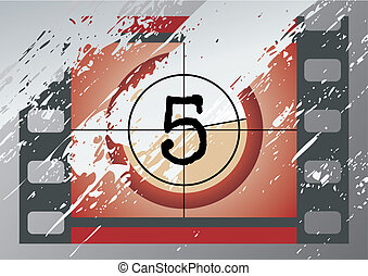 film countdown vector - Scratched Film Countdown at No 5