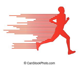 Man runner silhouette vector