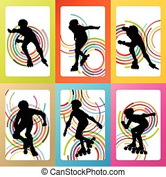 Inline skating silhouettes vector