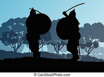 Medieval warrior, crusader vector background landscape...
