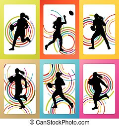 Rugby player woman silhouette vector background set