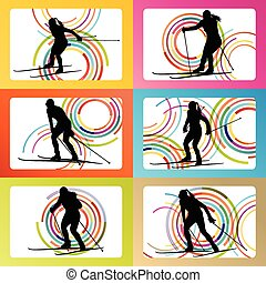 Woman skiing set silhouette vector background concept