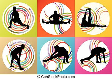 Man stretching exercise warming up and training set vector...
