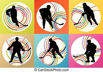 Ice hockey player silhouette set vector background concept