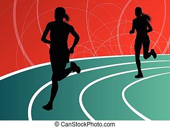 Active women runner sport athletics running silhouettes...