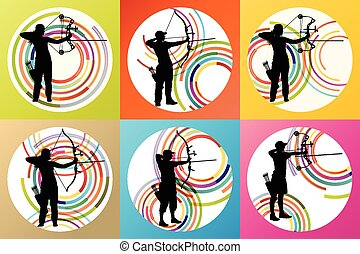 Archer with bow set vector background concept