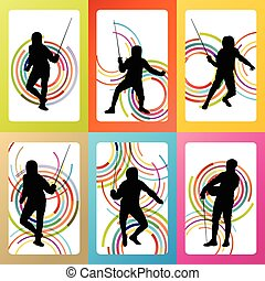 Fencing sport silhouette vector background set concept