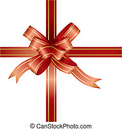 red ribbon and bow - vector illustration