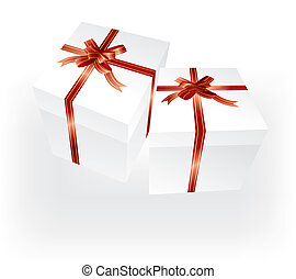gift boxes with red ribbons