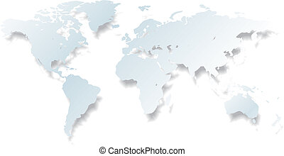light world map - vector - light detailed vector world map