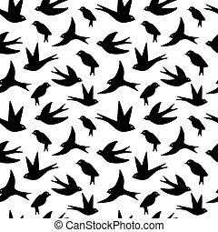 Seamless pattern made of swallow birds on white or...