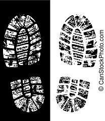 vector bootprint - detailed black and white bootprint -...