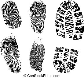 fingerprints and bootprint - Detailed finger and boot print...