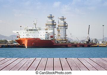 module - Module tank on ship in sea.