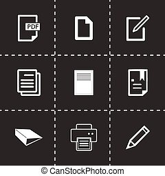 Vector documents icons set on black background