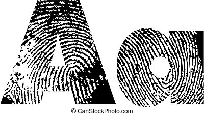 finger print alphabet - vector illustration