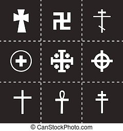 Vector crosses icons set