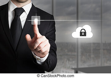 businessman pushing touchscreen button cloud security -...