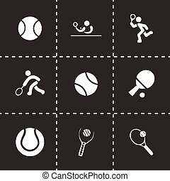Vector tennis icon set on black background