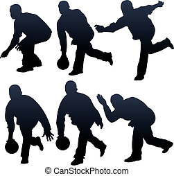 bowling people silhouettes - vector illustration