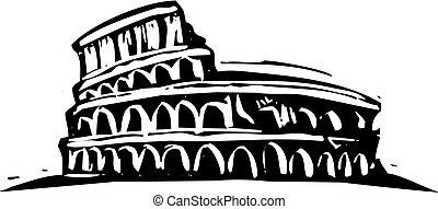 Rome Coliseum - Black and White woodcut style illustration...